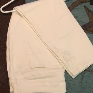 Maurices brand white skinny jean with lace detail